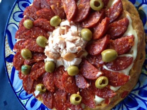 Tortilla met chorizo topping